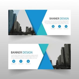 Blue banner, geometric shapes
