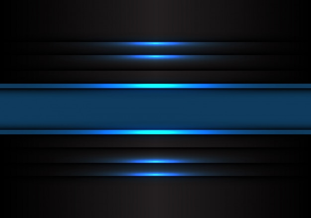 Blue banner line light on black background.