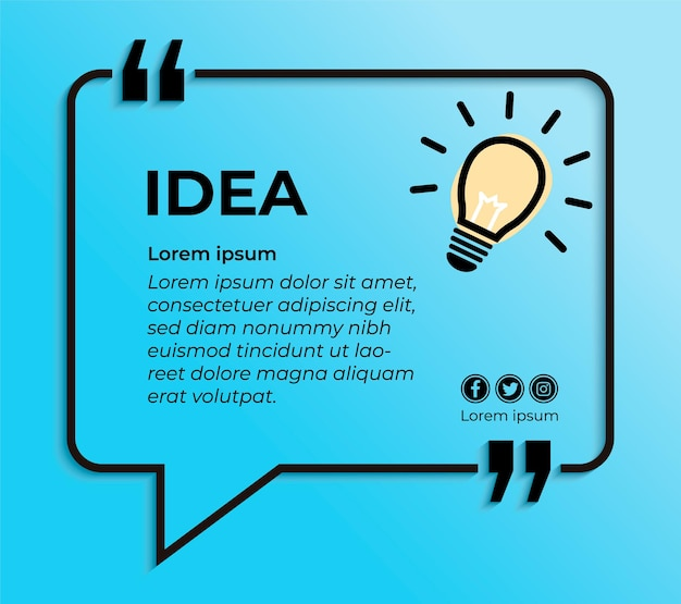 Blue banner for quote with bulb lamp