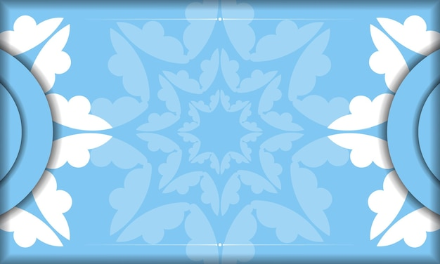 Blue banner template with abstract white ornament and place under your text