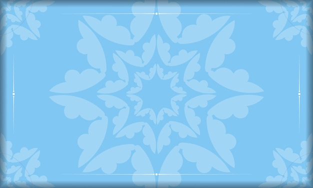Blue banner template with greek white ornaments and place for your text