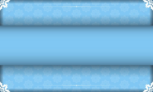 Blue banner template with indian white ornaments and place under your text