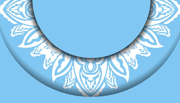 Blue banner template with luxurious white ornament for logo design