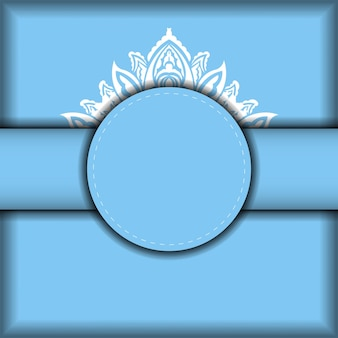 Blue banner template with mandala white ornament and place for your logo