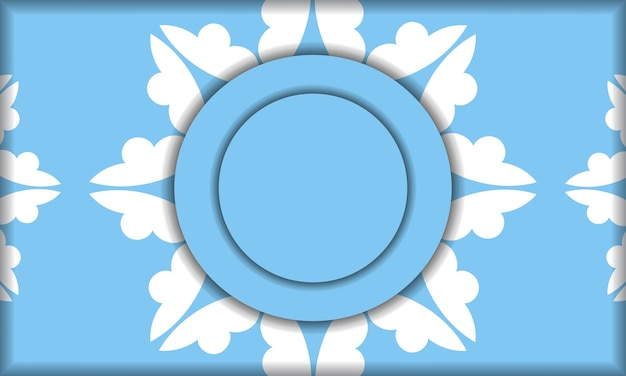 Blue banner template with mandala white ornament and place under your text