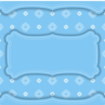Blue banner template with mandala white pattern and place for your logo