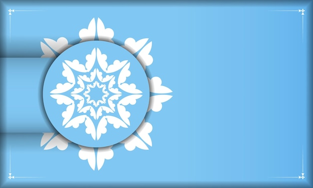 Blue banner template with mandala white pattern and place under your text