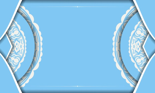 Blue banner with greek white pattern and space for your logo
