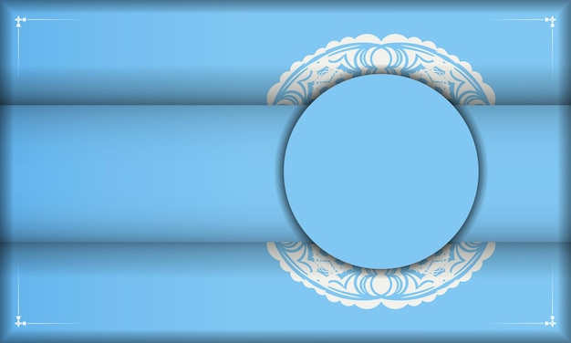 Blue banner with indian white ornaments and a place under the logo