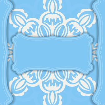 Blue banner with luxurious white ornament for design under your logo