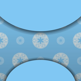 Blue banner with luxurious white ornaments and a place for the logo