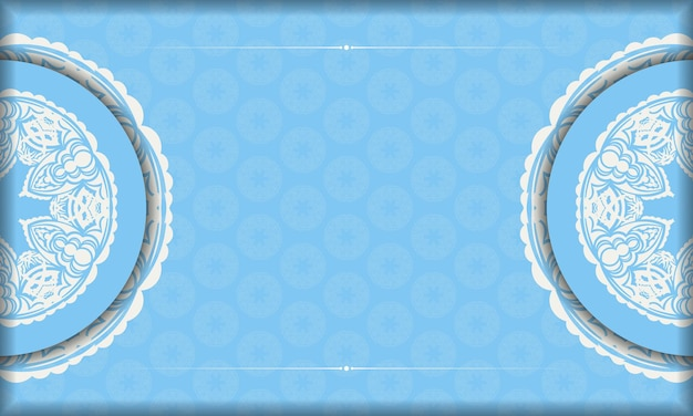 Blue banner with luxurious white pattern and space for your logo