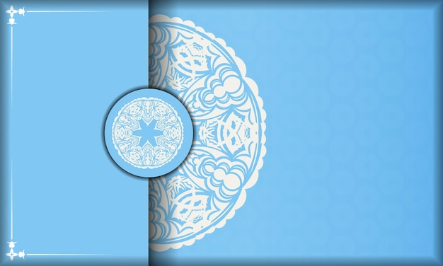 Blue banner with mandala white ornament and a place under the logo