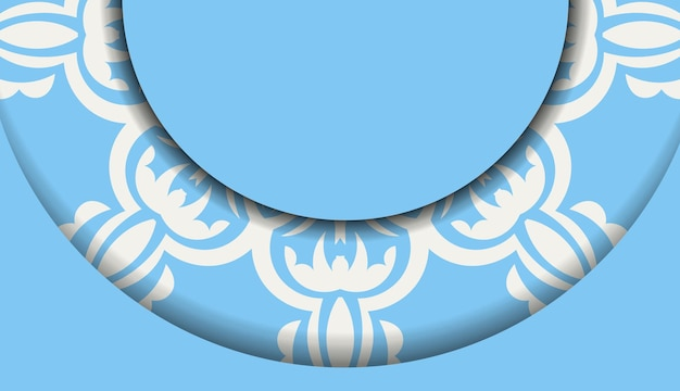 Blue banner with mandala white ornament and a place for your logo