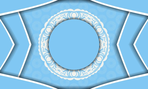 Blue banner with old white pattern and space for your logo