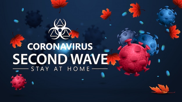 Blue banner with pink and blue 3d coronavirus molecules and autumn leaf fall. covid-19, second wave concept. 3d banner with modern design. coronavirus 2019-ncov.