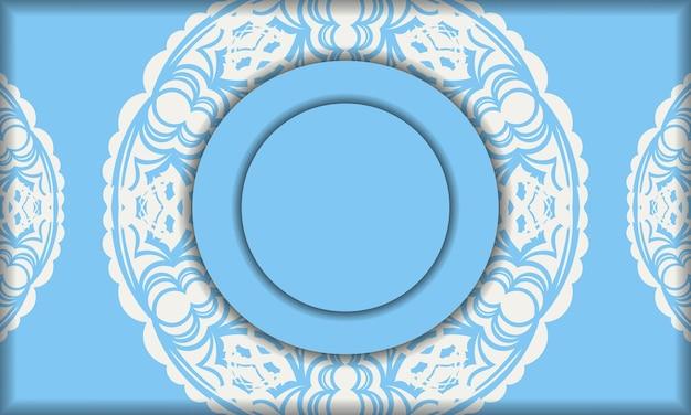 Blue banner with vintage white ornament for logo design