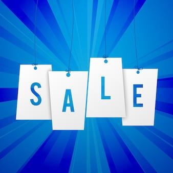 フラット紙ラベルの単語販売と青いバナー