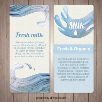 Blue banners of milk splash in watercolor style
