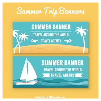 Blue banners of summer holiday