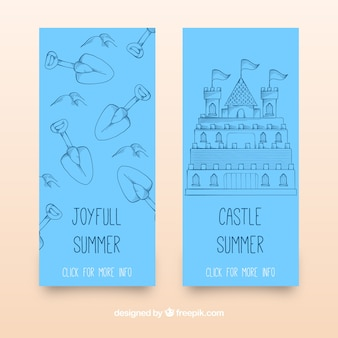 Blue banners with sandy castle and shovels