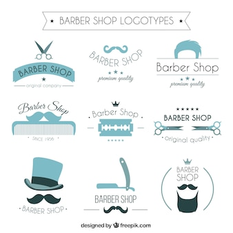 Blue barber shop logos