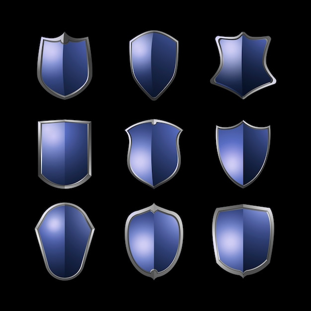 Blue baroque shield elements vector set