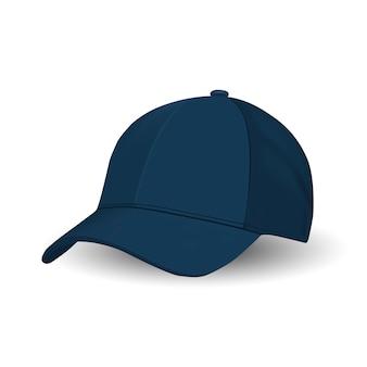 Blue baseball cap, sport hat vector template.