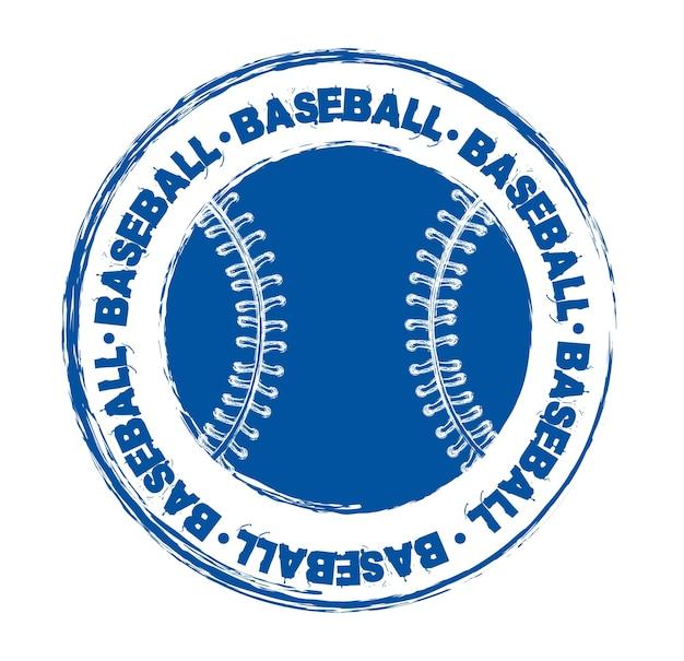 青い野球のシールは、白い背景ベクトル図を介して고립