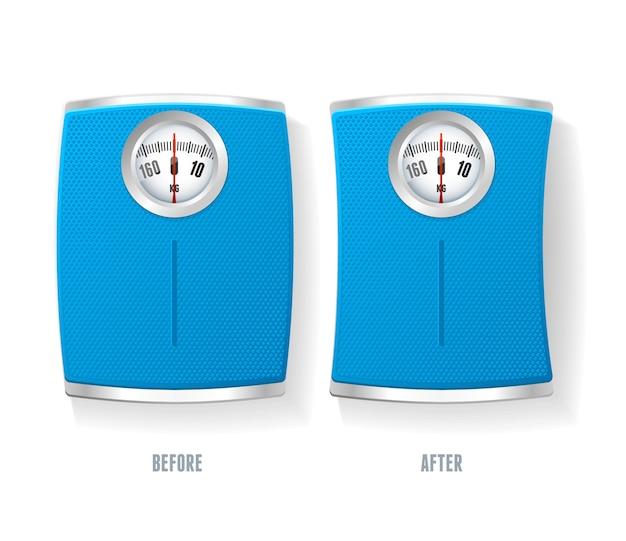 Синий набор весов для ванной, изолированные на белом фоне.