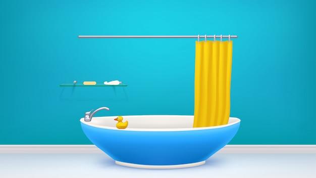 Синяя ванная комната с ванной