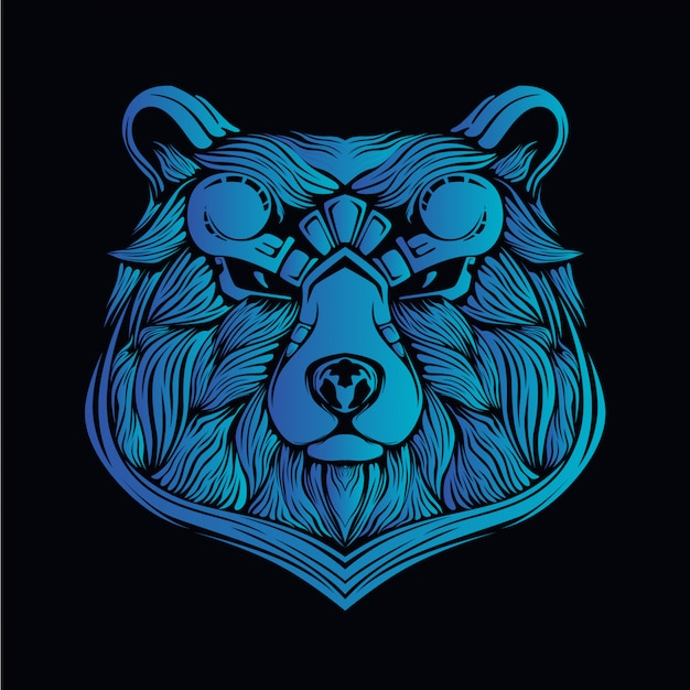 Blue bear head illustration