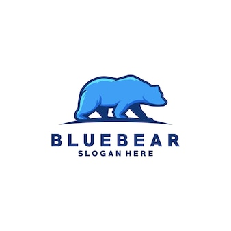Blue bear logo premium vector