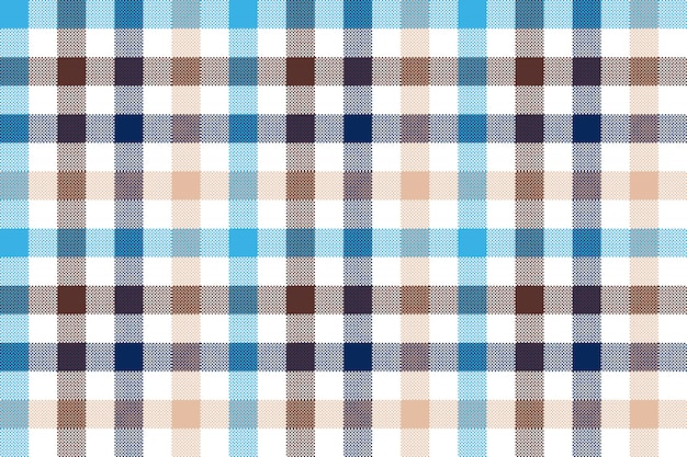 Blue beige check plaid seamless pattern