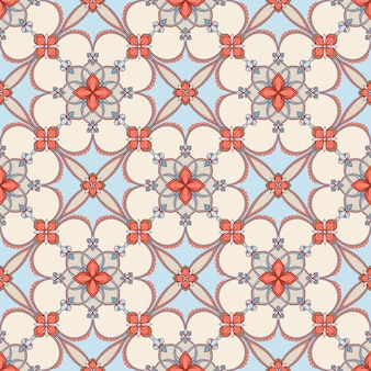 Blue and beige floral pattern