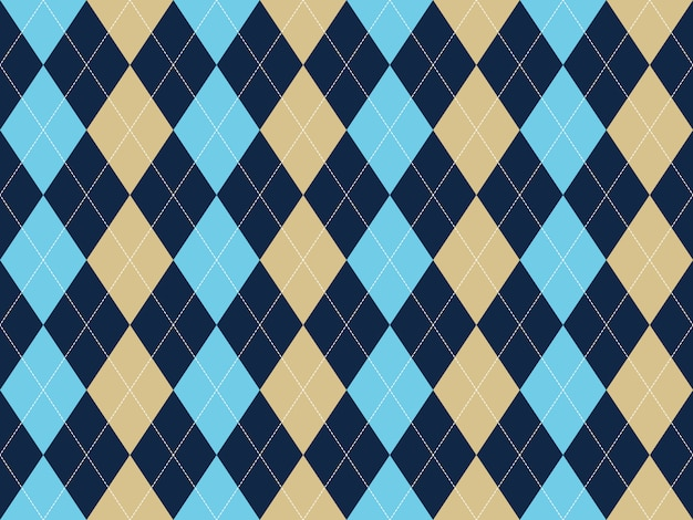 Blue beige white argyle seamless pattern