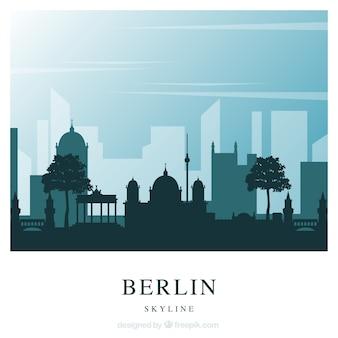 Blue berlin skyline background