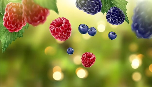 Blue berry and raspberry fruits on glittering green bokeh background in 3d illustration