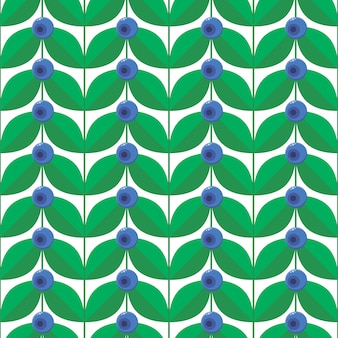Blue berry with green leaves seamless pattern.