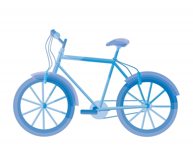 Синий велосипед на белом. велосипедная иллюстрация.