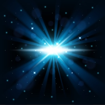 Blue big bang shine from darkness background