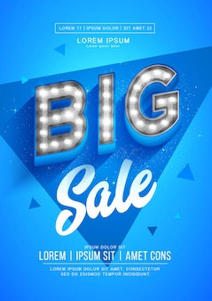 Blue big sale poster or flyer . retro light signboard banner with glowing bulbs.