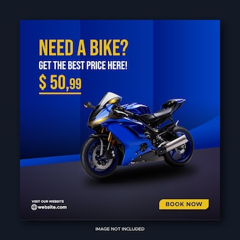 Blue bike rental promotion social media facebook cover banner