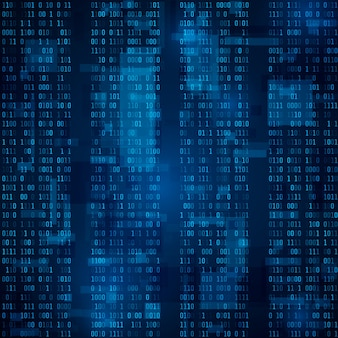 Синий двоичный компьютерный код. случайные двоичные числа. фоновая иллюстрация