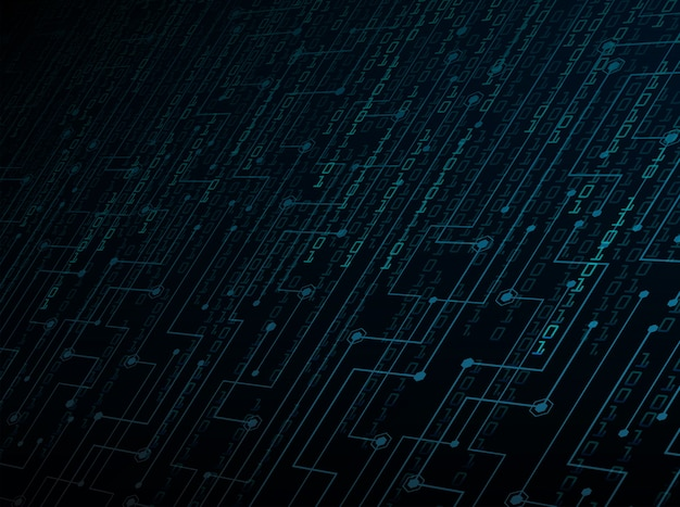 Blue binary cyber circuit future technology concept background