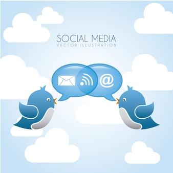 Blue bird over blue background vector illustration