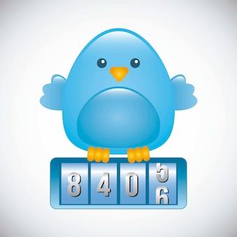 Синяя птица на сером фоне