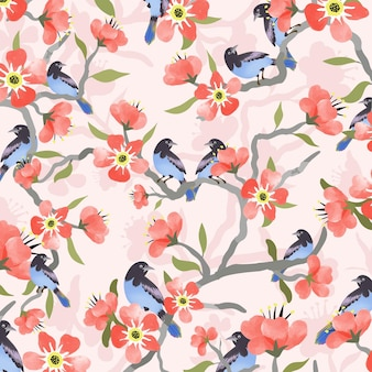 Blue bird and pink red  flower.