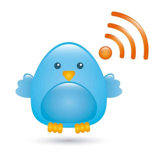 Blue bird over white background vector illustration