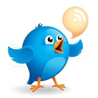 Синяя птица с пузырем rss-разговора Premium векторы